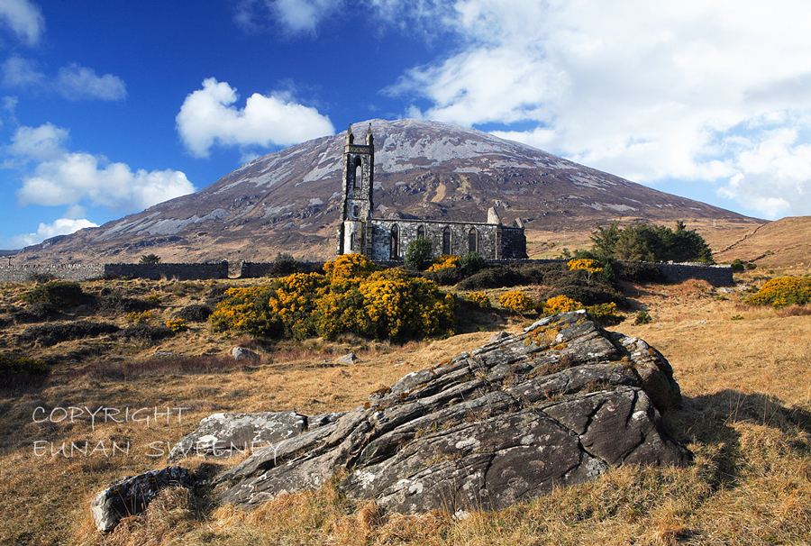 Dunlewy  Old  Church and  Errigal  Mountain. Co. Donegal